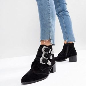 ASOS Suede Buckle Ankle Boots